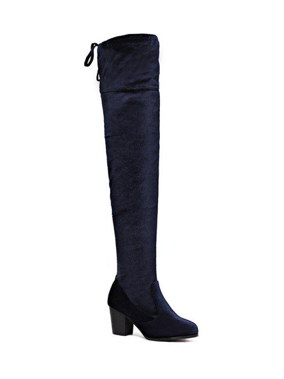 outfit Lace Up Chunky Heel Zip Thigh Boots - DEEP BLUE 39