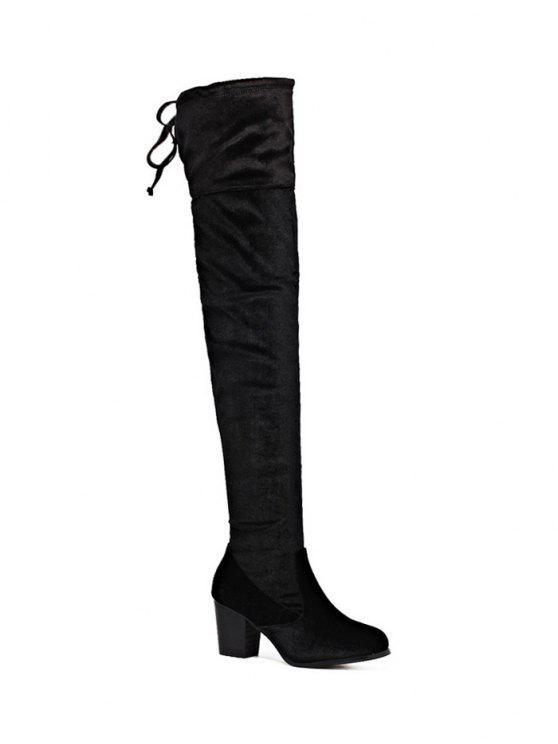 latest Lace Up Chunky Heel Zip Thigh Boots - BLACK 39