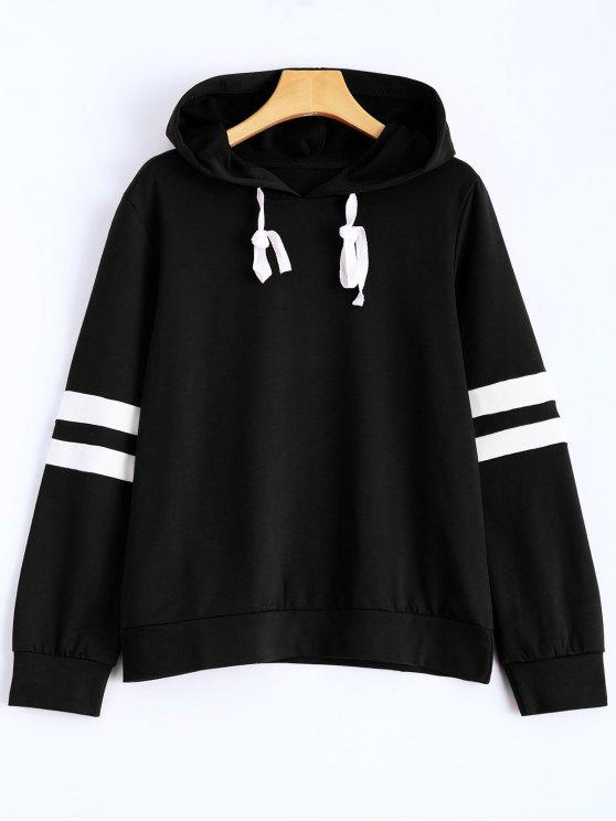 latest Stripes Pullover Hooded Sweatshirt - BLACK L