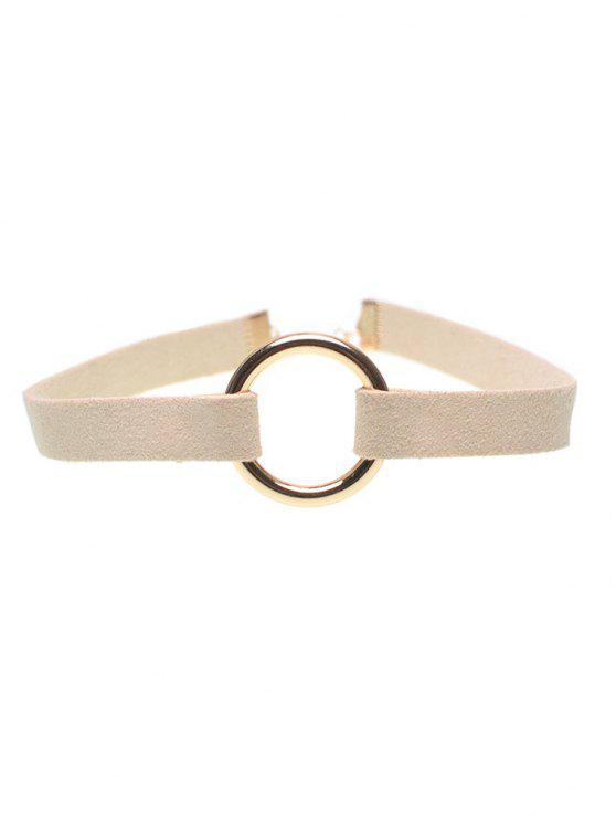Samt Streifen Kupfer Coil Choker Halskette - Beige (Weis)