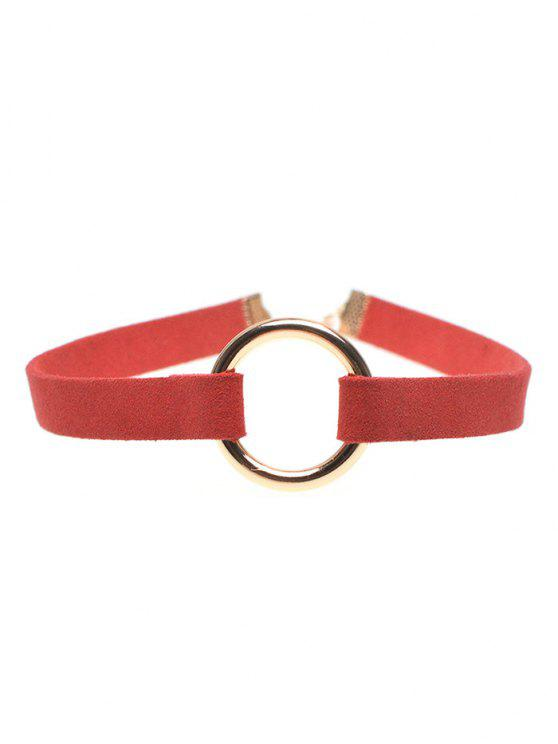 online Velour Strip Copper Coil Choker Necklace - RED
