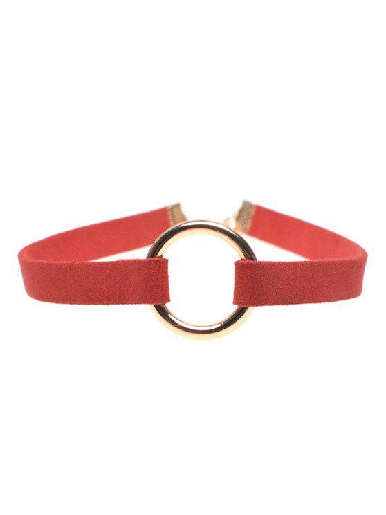 Collier ras-de-cou anneau en cuivre bande en velours - Rouge
