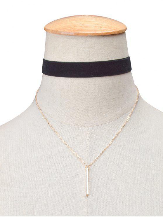 Collier choker rétro étagé en velours avec barre - Noir