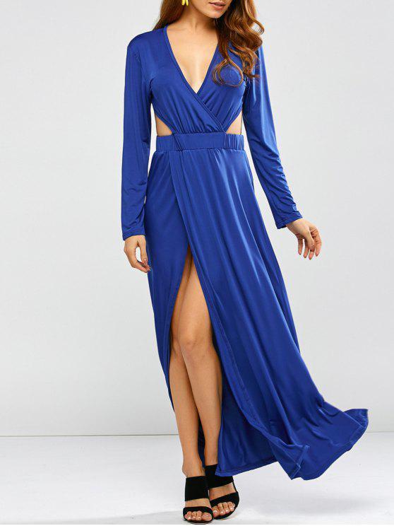 يغرق عارية الذراعين كم طويل فستان حفلة موسيقية ماكسي - أزرق XL