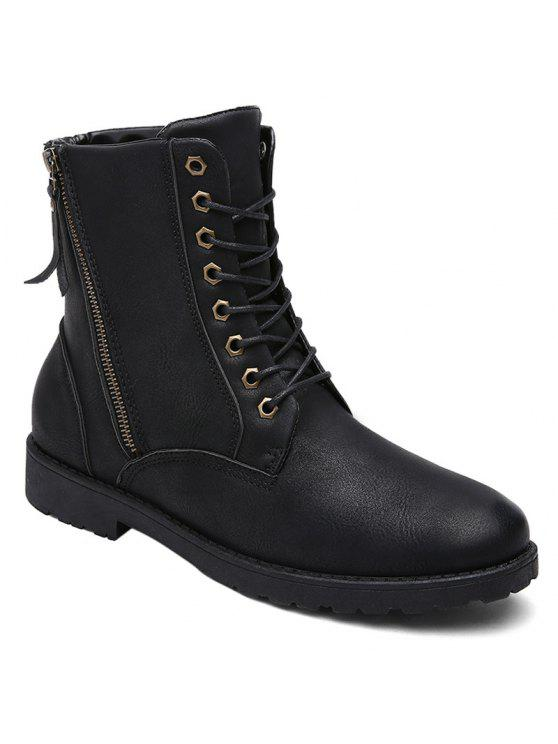 بو الجلود العيينة الجانبية البريدي الأحذية القتالية - أسود 44