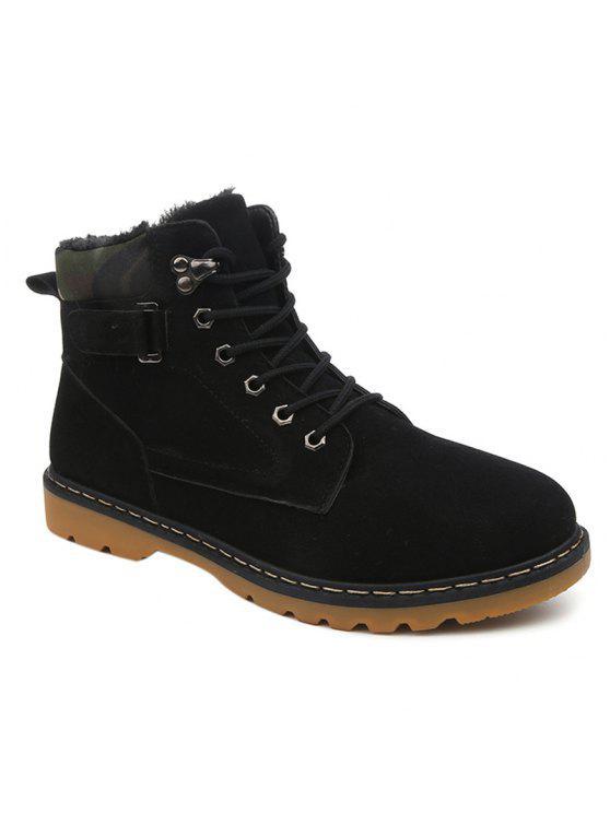 العيينة الدانتيل يصل أحذية قصيرة من جلد الغزال - أسود 42