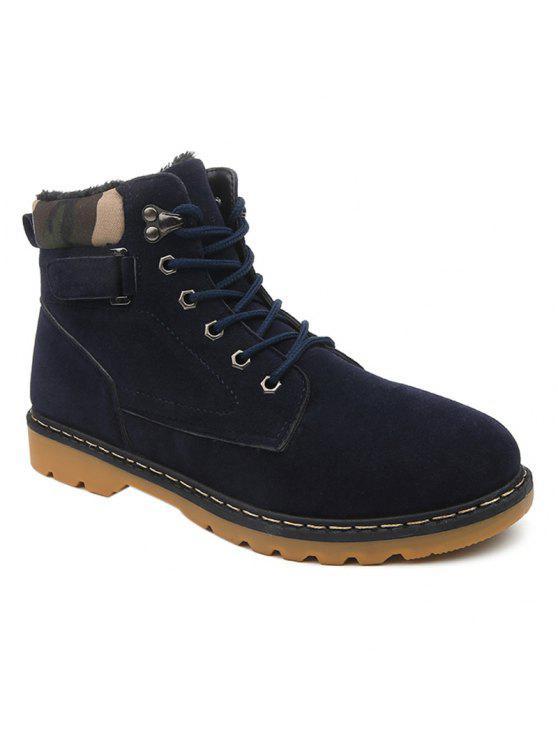 العيينة الدانتيل يصل أحذية قصيرة من جلد الغزال - أزرق 42