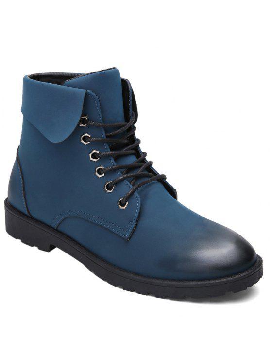 الدانتيل يصل العيينة أضعاف أسفل الأحذية القتالية - أزرق 40
