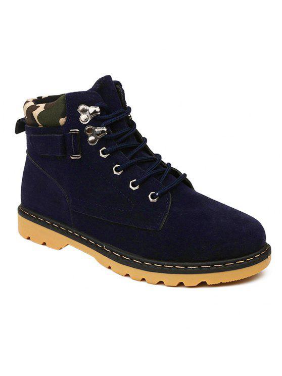 المعادن العيينة الدانتيل يصل جلد الغزال الأحذية قصيرة - أزرق 40