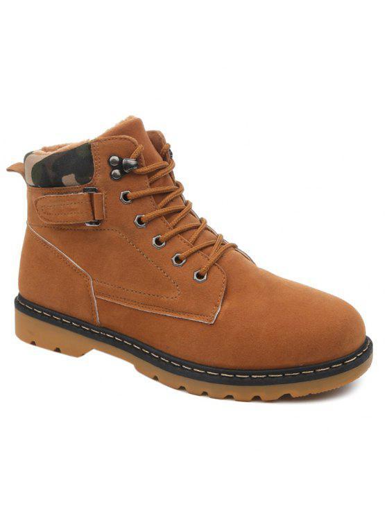 العيينة الدانتيل يصل أحذية قصيرة من جلد الغزال - BROWN 43