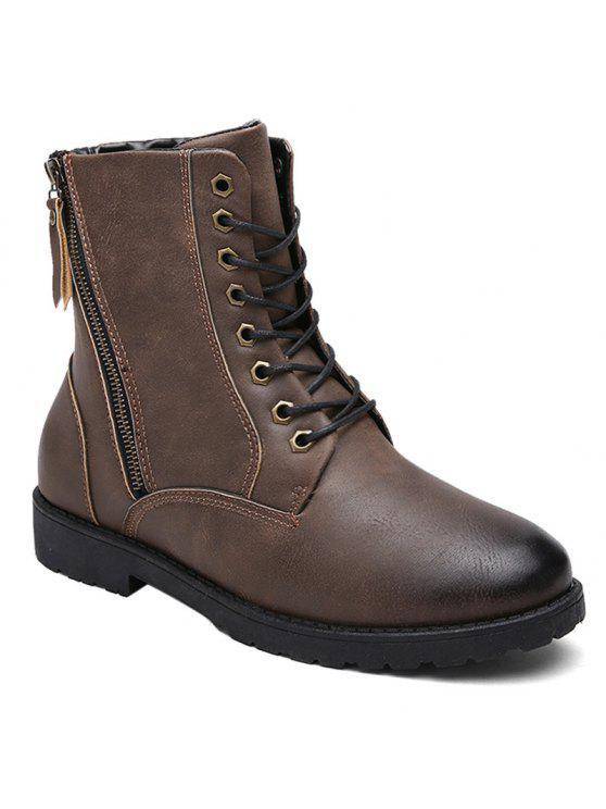 بو الجلود العيينة الجانبية البريدي الأحذية القتالية - ديب براون 43