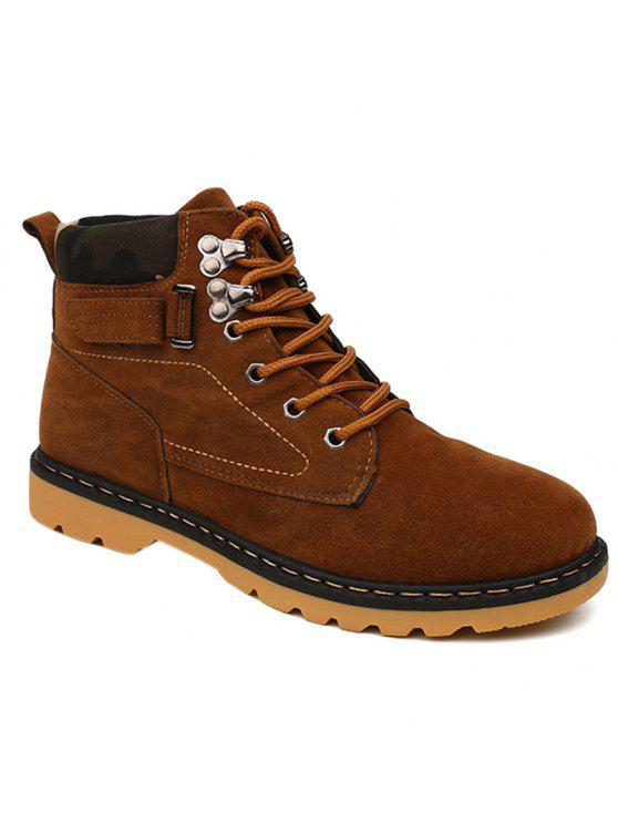 المعادن العيينة الدانتيل يصل جلد الغزال الأحذية قصيرة - BROWN 41