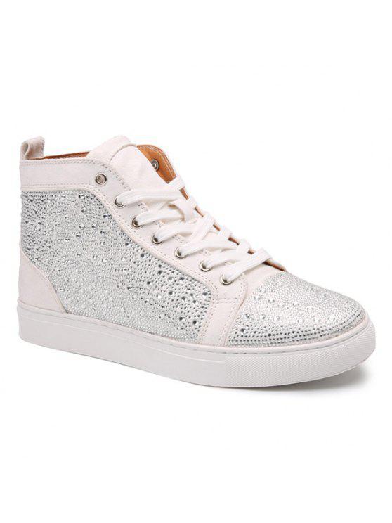 عارضة حجر الراين الدانتيل يصل الأحذية قصيرة - أبيض 41
