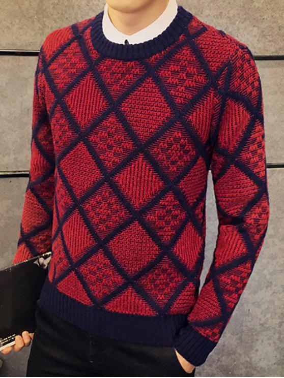 Tessuto girocollo Argyle Sweater Pullover - Rosso 3XL