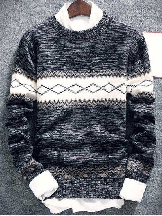 online Geometric Pattern Space Dye Crew Neck Sweater - DEEP GRAY XL