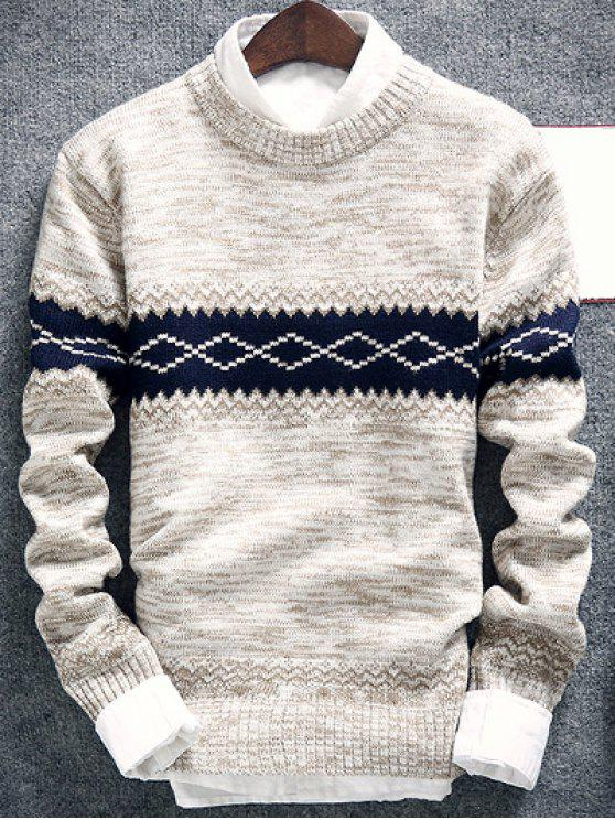 shops Geometric Pattern Space Dye Crew Neck Sweater - OFF-WHITE 2XL