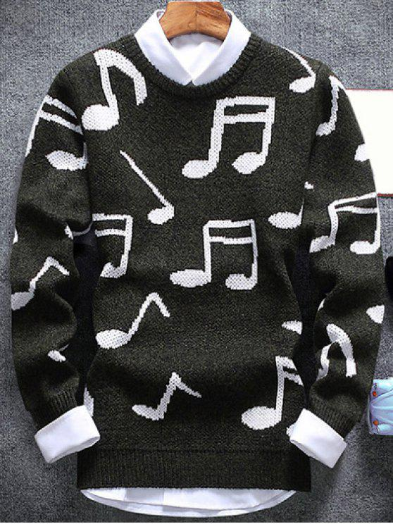 buy Music Note Pattern Crew Neck Sweater - ARMY GREEN 2XL