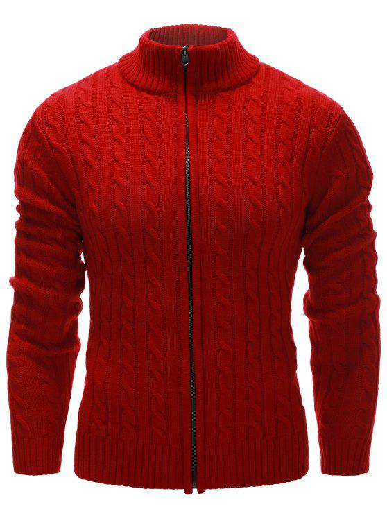 ladies Stand Collar Twist Zip Up Cardigan - RED L
