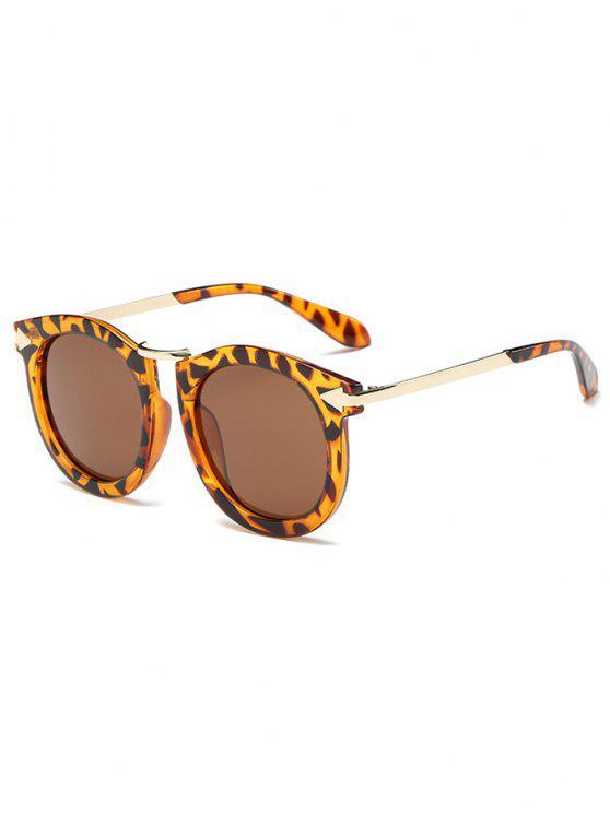 Lunettes de soleil ovales à motif à rayures du leopard de la marque Flèche - Or