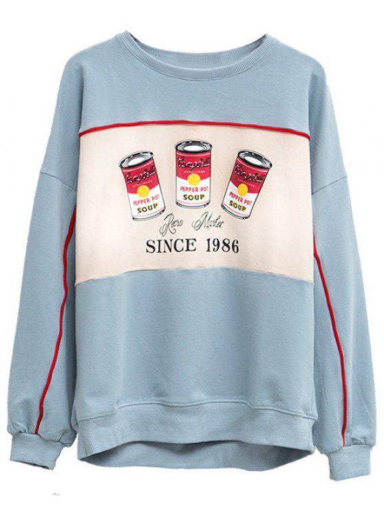 latest Crew Neck Pepper Pot Graphic Sweatshirt - LIGHT BLUE ONE SIZE