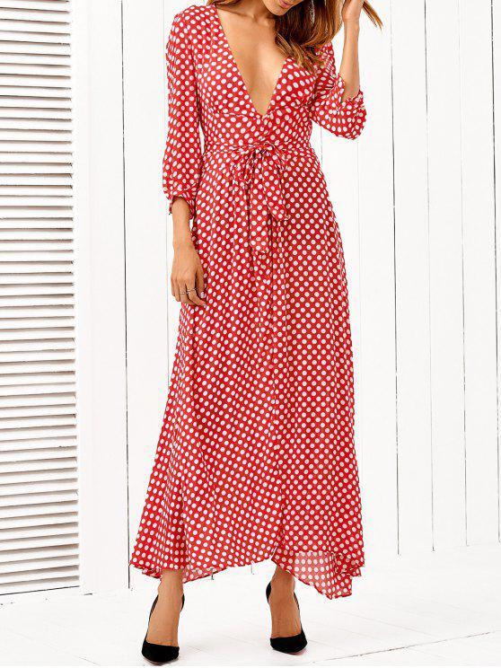 Lunares Hundiendo cuello vestido maxi - Rojo L