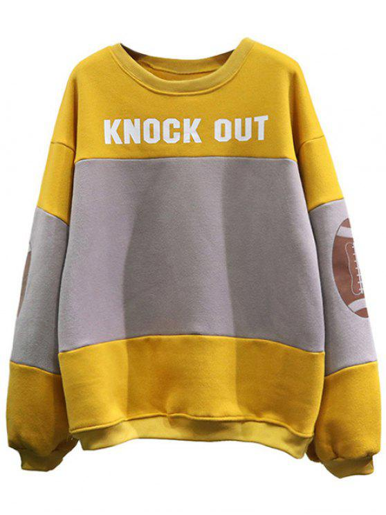 trendy Color Block Oversized Sweatshirt - YELLOW ONE SIZE