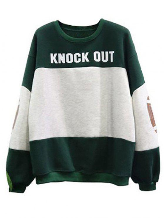 fashion Color Block Oversized Sweatshirt - GREEN ONE SIZE