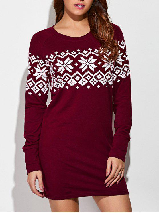 buy Raglan Sleeve Snowflake Pattern Dress - RED WITH WHITE M