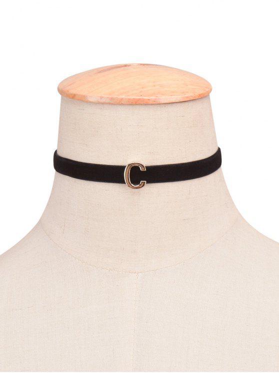Collier ras du cou en velours décoré de lettre - 03#