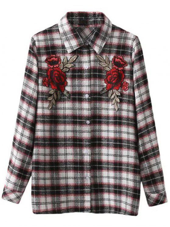 affordable Floral Embroidered Tartan Shirt - CHECKED S