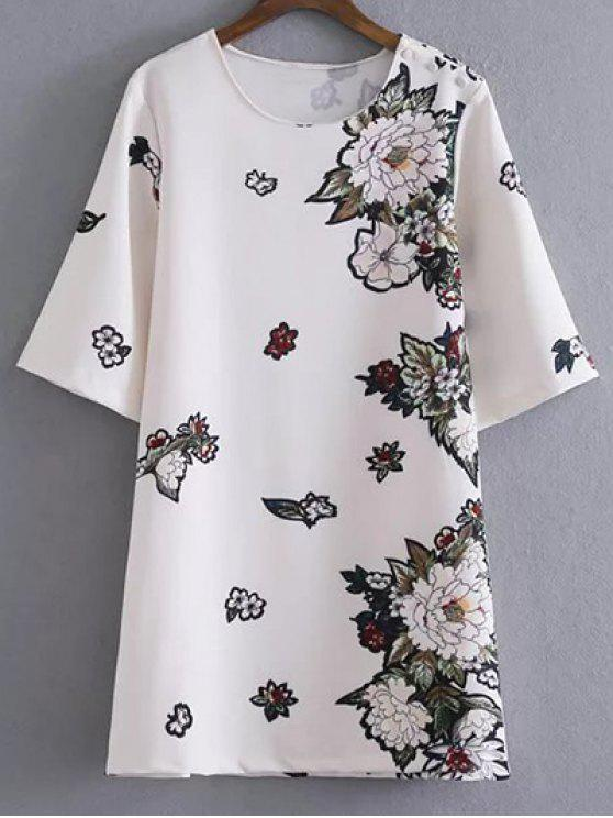 unique Round Neck Floral Straight Shift Dress - WHITE L