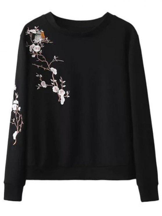 Pájaro floral camiseta bordada - Negro S