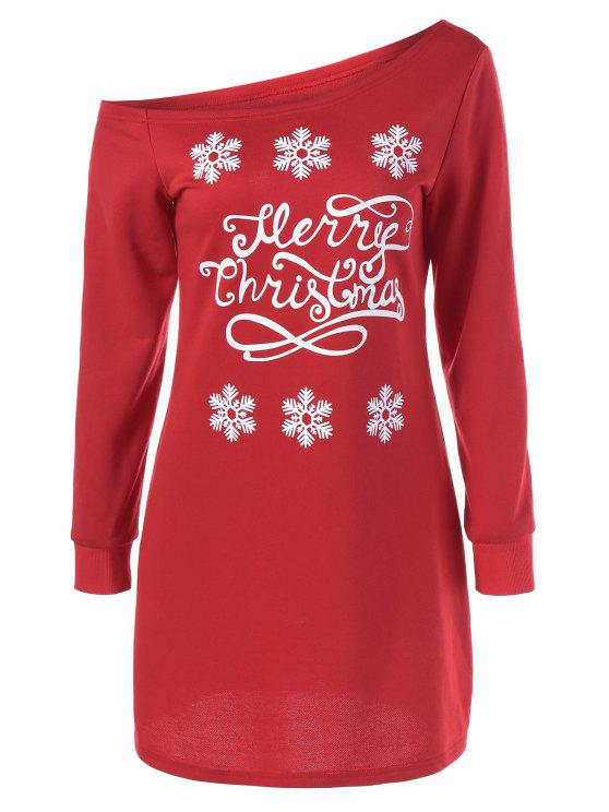 outfits Snowflake Pattern Skew Collar Sweatshirt Dress - RED WITH WHITE L