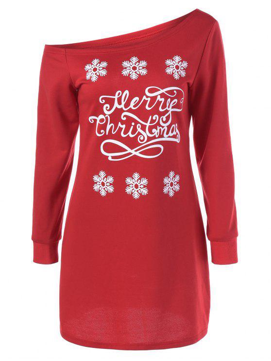 سنوفلاك نمط الانحراف طوق البلوز اللباس - الأحمر مع الأبيض XL
