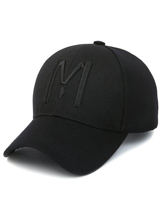Letra M gorra de béisbol - Negro azabache