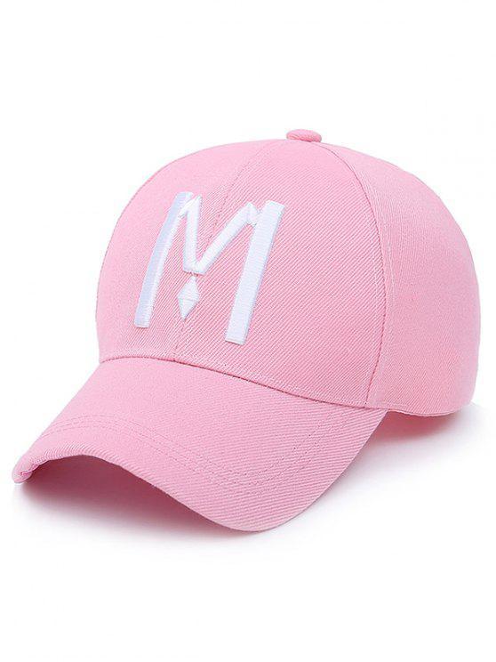 casquette de base-ball avec motif à lettre M - Rose Clair