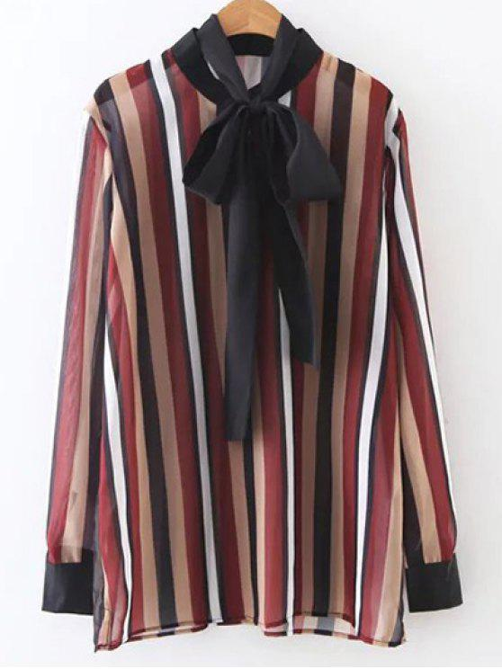 new Colorful Striped Bow Tie Blouse - STRIPE S