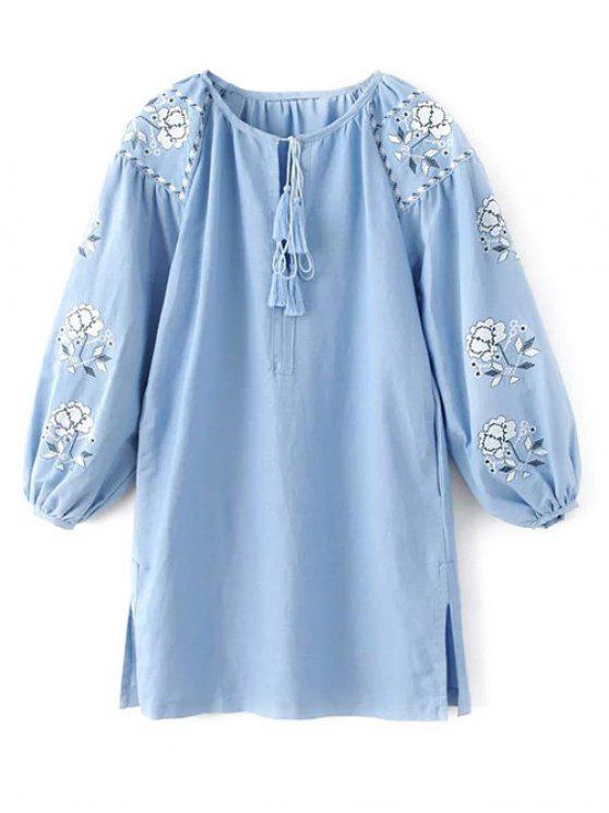 La linterna de la manga bordada túnica de la blusa - Azul Claro L