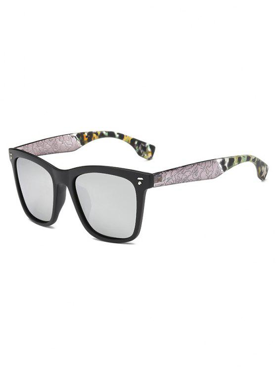 Crack and Camouflage Panel Mirrored Sunglasses - Prata