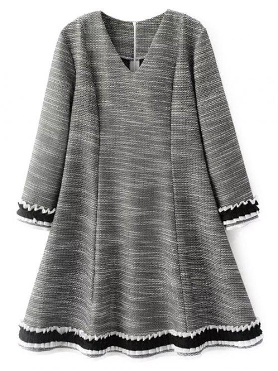 Frill Trim Long Sleeve Ein Line Kleid - Grau M