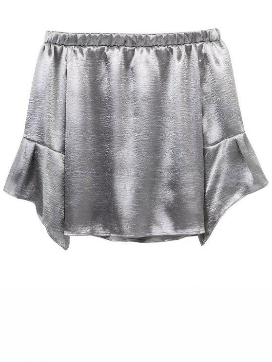 Off The Velvet hombro Smcok Top - Plata M