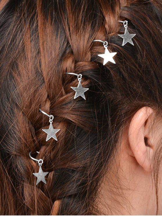 5 PCS adornan los accesorios del pelo de la estrella - Plata