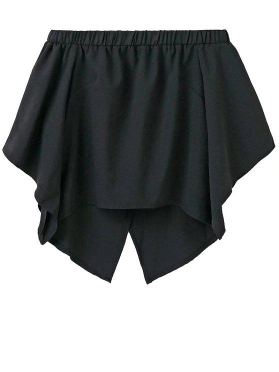 ladies Off The Shoulder Crossover Back Smock Top - BLACK L