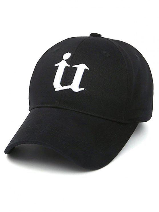 Letra U del sombrero de béisbol - Negro