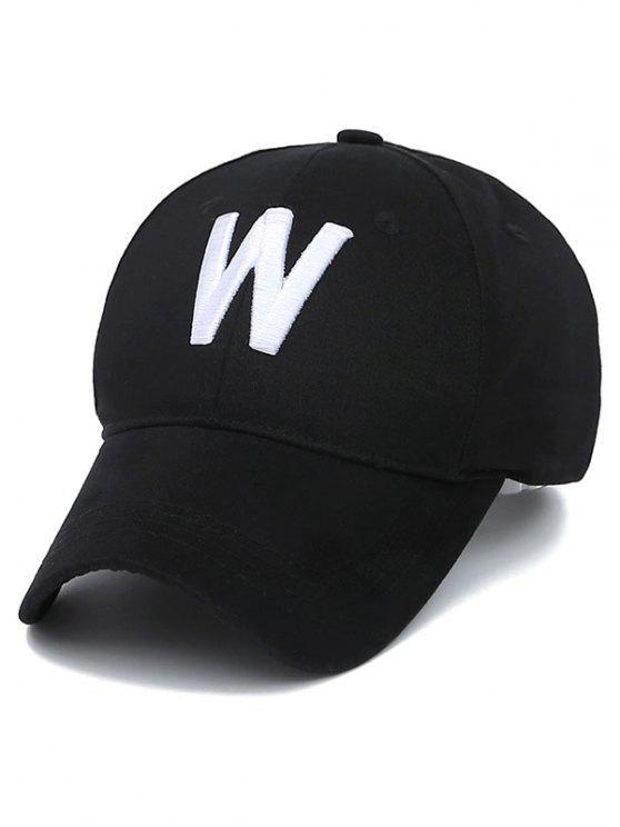 Casquette brodé lettre W - Noir