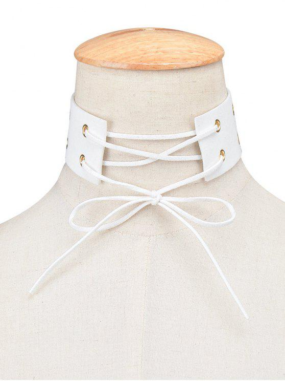 latest Bowknot Faux Leather Choker - WHITE