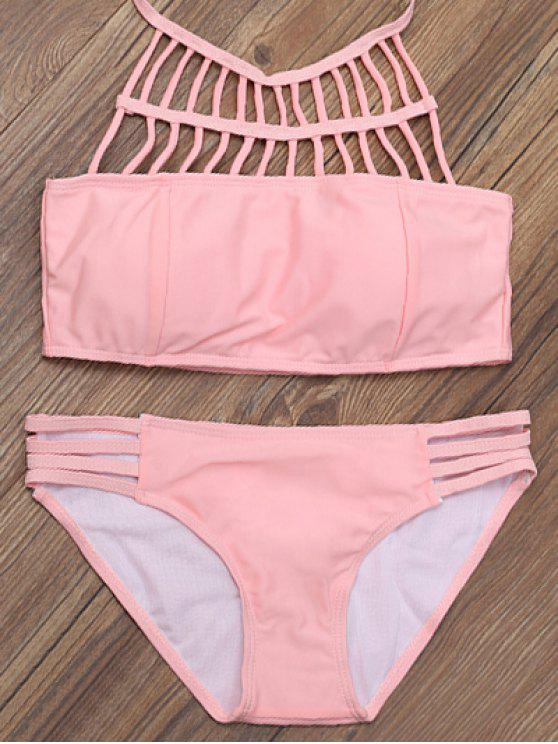 shop Lattice High Neck Bikini Top and Bottoms - PINK S