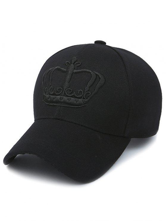 Casquette de baseball brodé de couronne - Noir profond