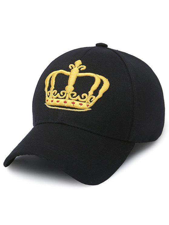 Casquette de baseball brodé de couronne - Noir
