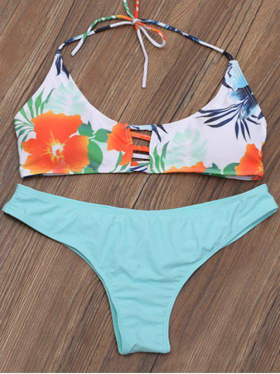 fashion Lattice Cut Out Floral Bikini Set - FLORAL S
